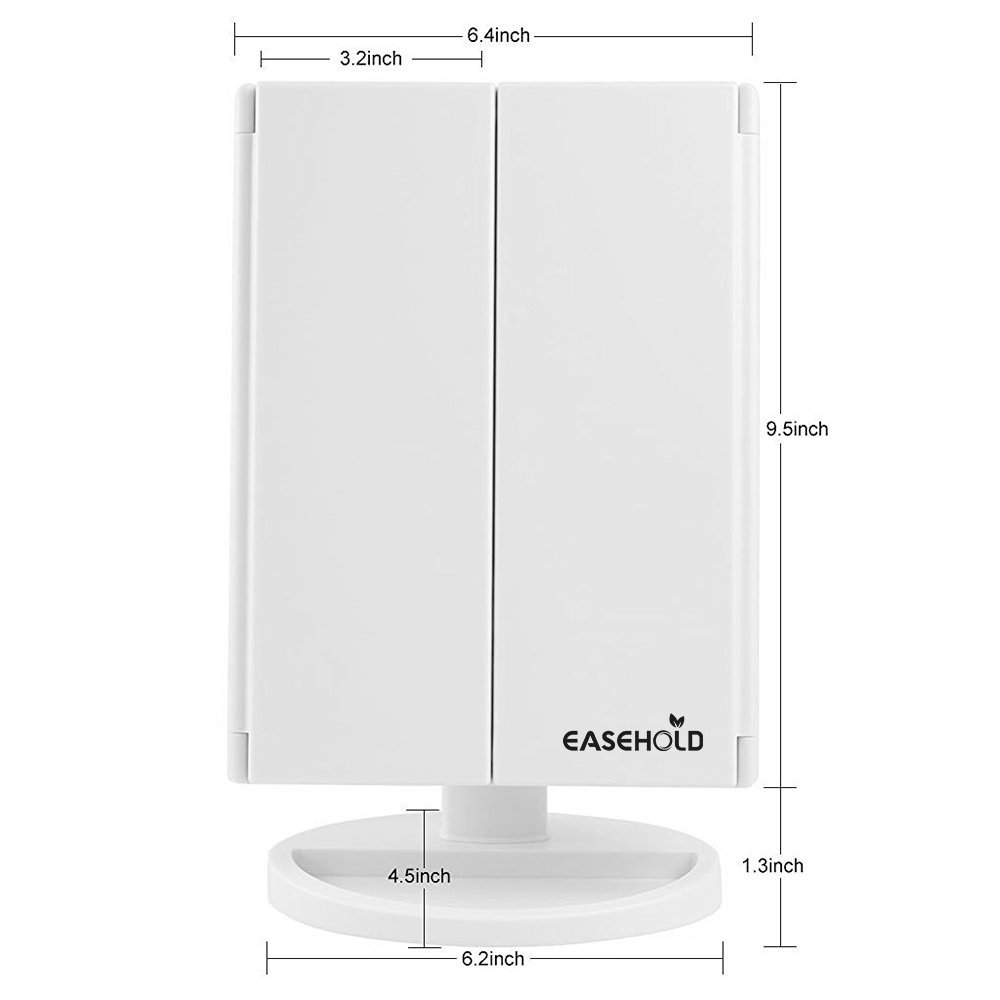 Best Lighted Vanity Mirror-Easehold Tri-Fold Lighted Vanity Mirror