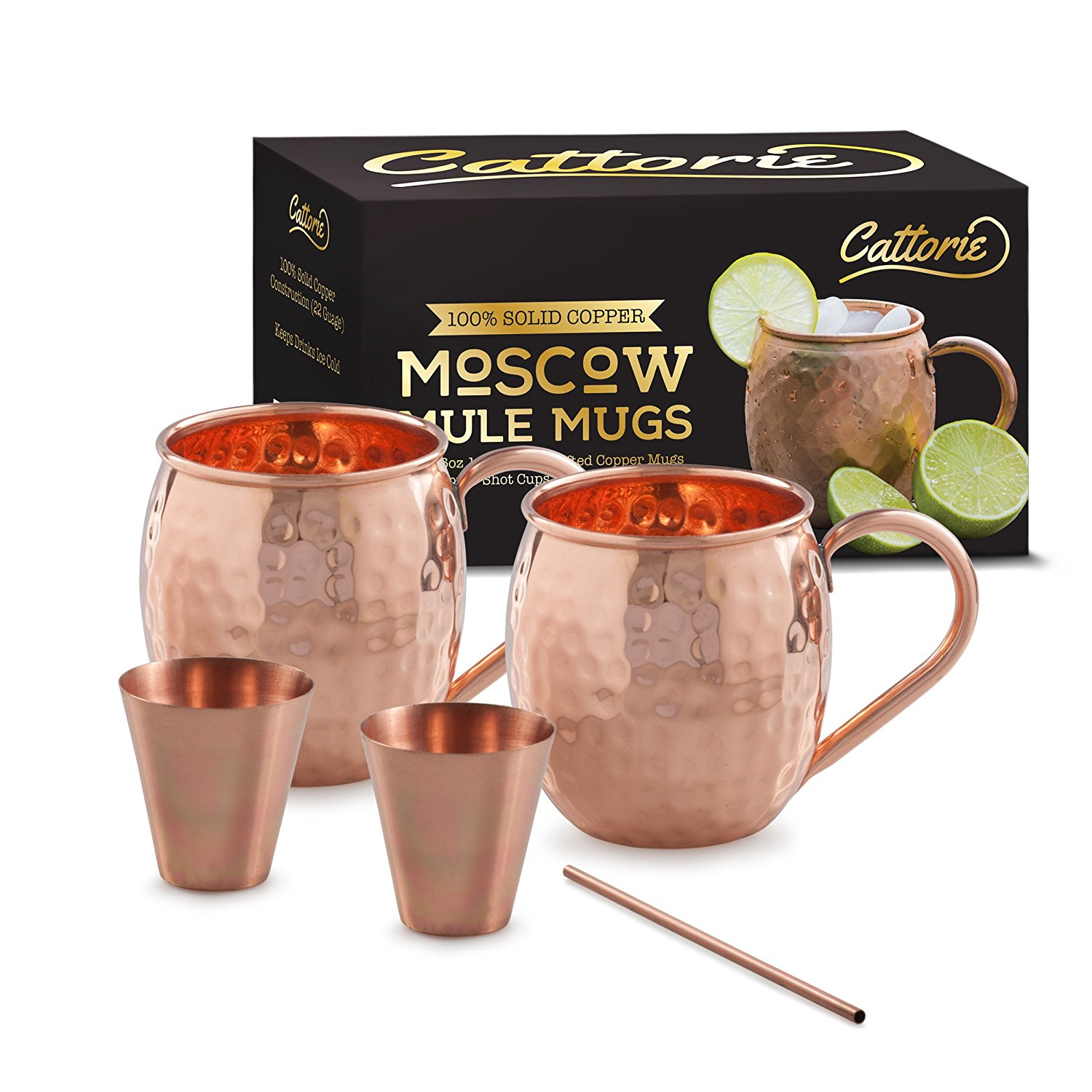 Best Copper Mule Mugs-Cattorie Solid Moscow Mule Copper Mugs Kit