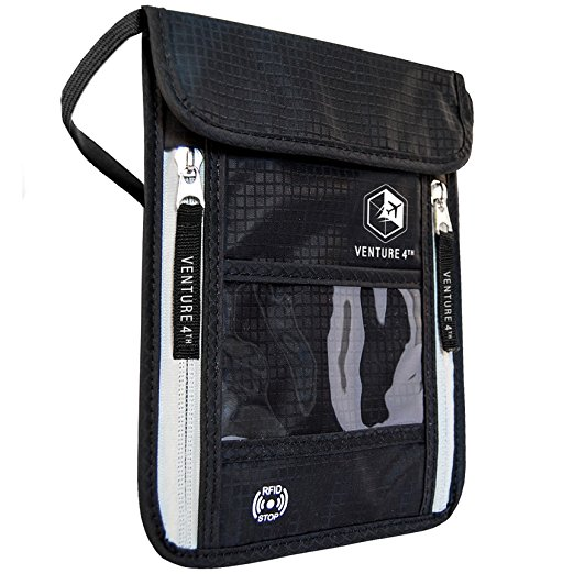 Best Passport Holder-VENTURE 4TH Travel Neck Pouch with RFID Blocking Passport Holder