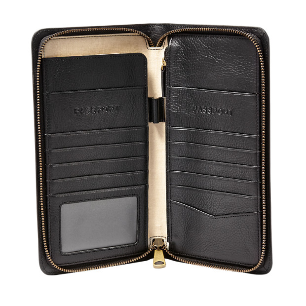 Best Passport Holder-Fossil Leather Zip Passport Case