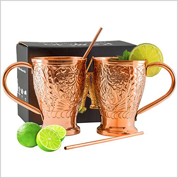 Best Copper Mule Mugs-Kamojo Moscow Mule 100% Pure Copper Embossed Mugs