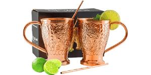 Kamojo Moscow Mule 100% Pure Copper Embossed Mugs